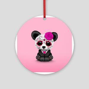 Pink Day of the Dead Sugar Skull Panda Round Ornam