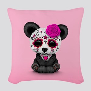 Pink Day of the Dead Sugar Skull Panda Woven Throw