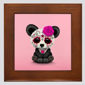 Pink Day of the Dead Sugar Skull Panda Framed Tile