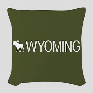 Wyoming: Moose (Mountain Green Woven Throw Pillow