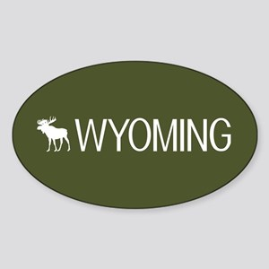 Wyoming: Moose (Mountain Green) Sticker (Oval)