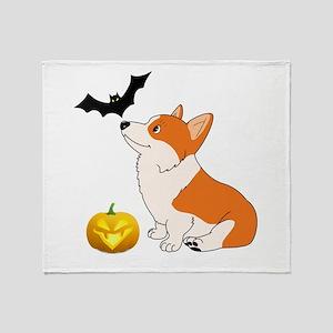 Halloween Corgi Throw Blanket