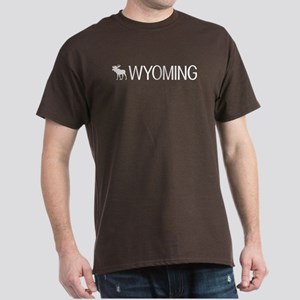 Wyoming: Moose (White) Dark T-Shirt
