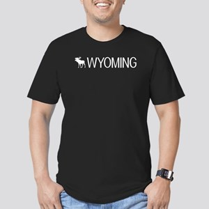 Wyoming: Moose (White) Men's Fitted T-Shirt (dark)