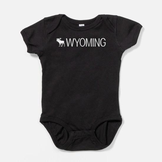Wyoming: Moose (White) Baby Bodysuit