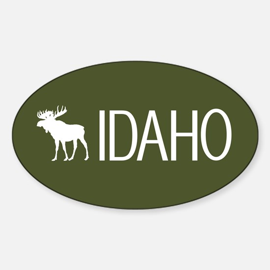 Idaho: Moose (Mountain Green) Sticker (Oval)