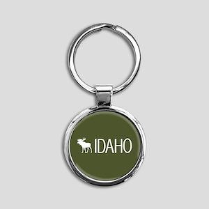 Idaho: Moose (Mountain Green) Round Keychain