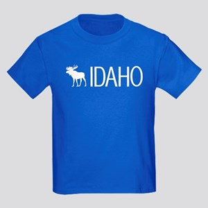 Idaho: Moose (White) Kids Dark T-Shirt