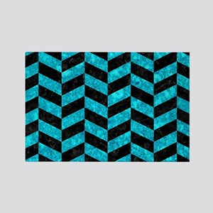 CHEVRON1 BLACK MARBLE & TURQUOISE Rectangle Magnet
