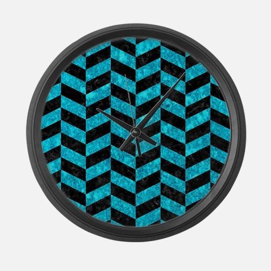 CHEVRON1 BLACK MARBLE & TURQUOISE Large Wall Clock