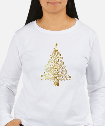 Gold Christmas Tree Long Sleeve T-Shirt