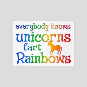 Unicorns far Rainbows 5'x7'Area Rug