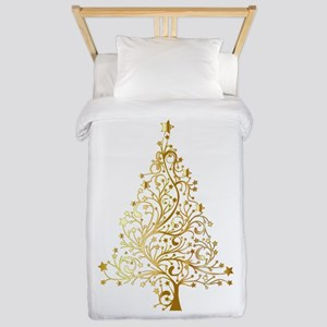 Gold Christmas Tree Twin Duvet