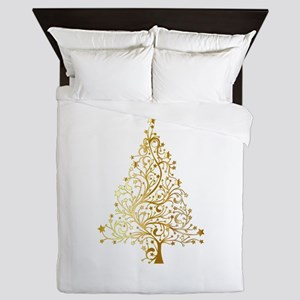 Gold Christmas Tree Queen Duvet