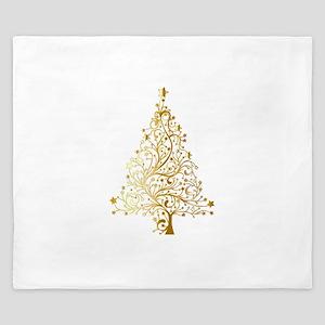 Gold Christmas Tree King Duvet
