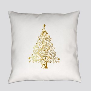 Gold Christmas Tree Everyday Pillow
