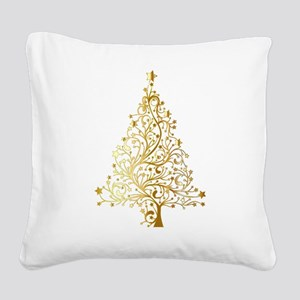 Gold Christmas Tree Square Canvas Pillow