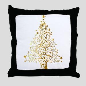 Gold Christmas Tree Throw Pillow