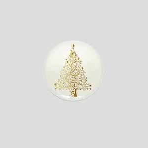 Gold Christmas Tree Mini Button