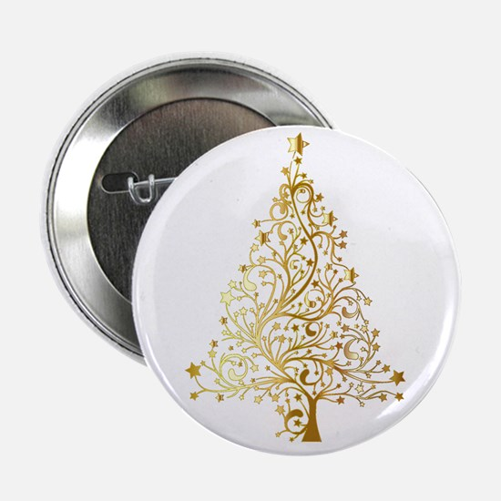 "Gold Christmas Tree 2.25"" Button (10 pack)"