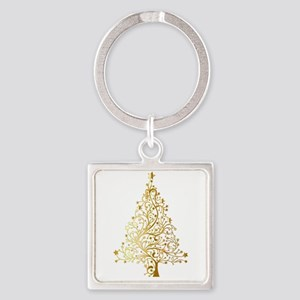 Gold Christmas Tree Keychains