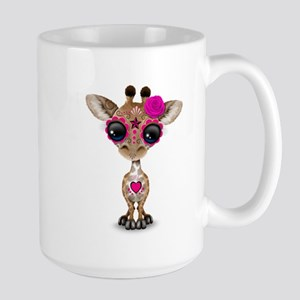 Pink Day of the Dead Sugar Skull Baby Giraffe Mugs