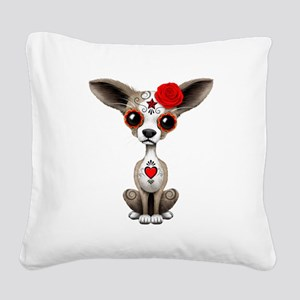 Red Day of the Dead Sugar Skull Chihuahua Puppy Sq