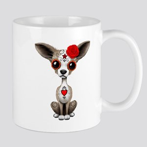 Red Day of the Dead Sugar Skull Chihuahua Puppy Mu