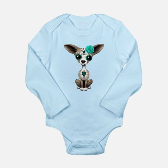Teal Blue Day of the Dead Sugar Skull Chihuahua Pu