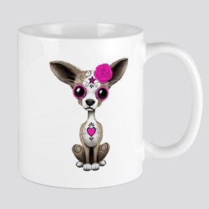 Pink Day of the Dead Sugar Skull Chihuahua Puppy M