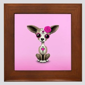 Pink Day of the Dead Sugar Skull Chihuahua Puppy F
