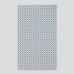 Red and Turquoise Polka Dots Area Rug