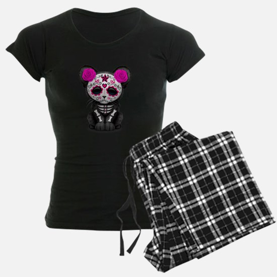 Pink Day of the Dead Sugar Skull Panther Cub pajam