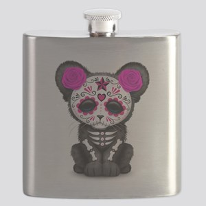 Pink Day of the Dead Sugar Skull Panther Cub Flask