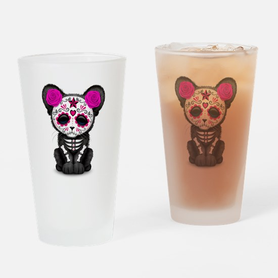 Pink Day of the Dead Sugar Skull Panther Cub Drink