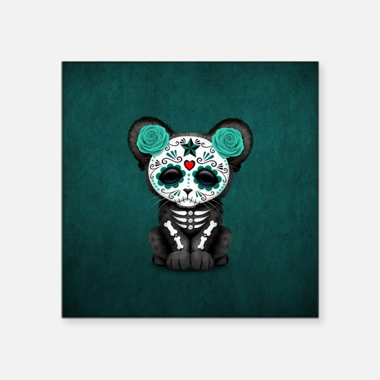 Teal Blue Day of the Dead Sugar Skull Panther Cub