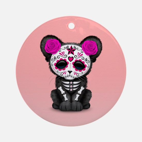 Pink Day of the Dead Sugar Skull Panther Cub Round
