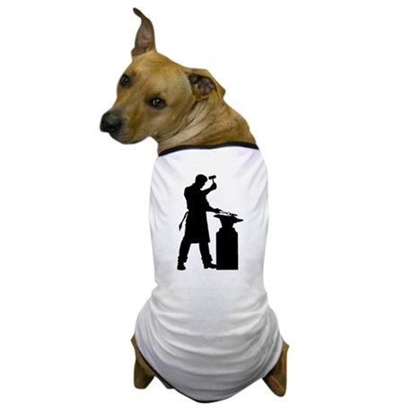 Blacksmith Silhouette Dog T-Shirt
