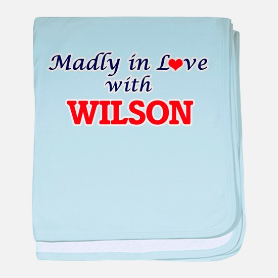 Madly in love with Wilson baby blanket