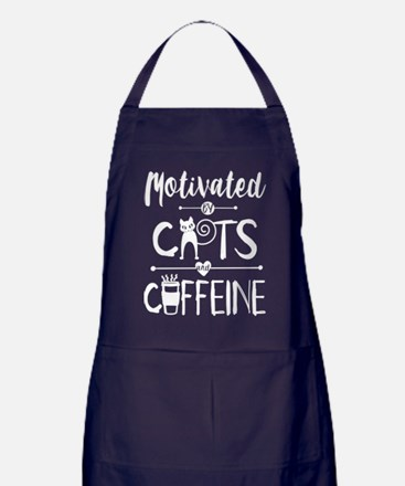 Motivated by Cats and Caffeine Apron (dark)