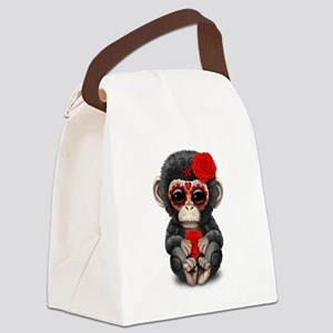Red Day of the Dead Sugar Skull Baby Chimp Canvas
