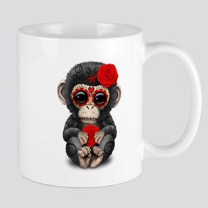 Red Day of the Dead Sugar Skull Baby Chimp Mugs