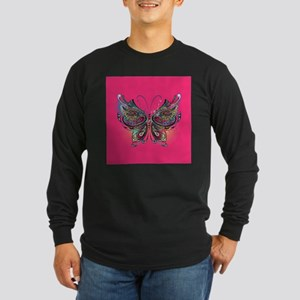 Colorful Butterfly Long Sleeve Dark T-Shirt