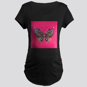 Colorful Butterfly Maternity Dark T-Shirt