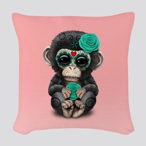 Teal Blue Day of the Dead Sugar Skull Baby Chimp o