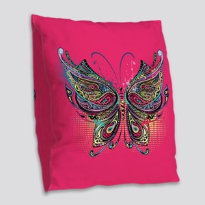 Colorful Butterfly Burlap Throw Pillow