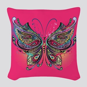 Colorful Butterfly Woven Throw Pillow