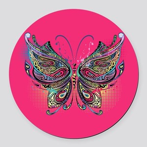 Colorful Butterfly Round Car Magnet