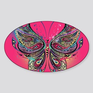 Colorful Butterfly Sticker (Oval)
