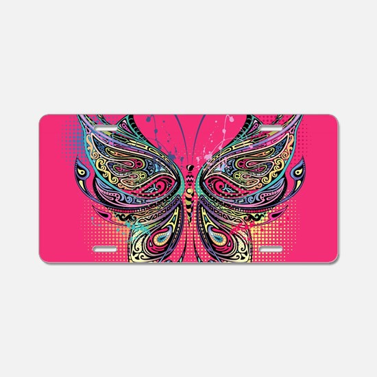 Colorful Butterfly Aluminum License Plate